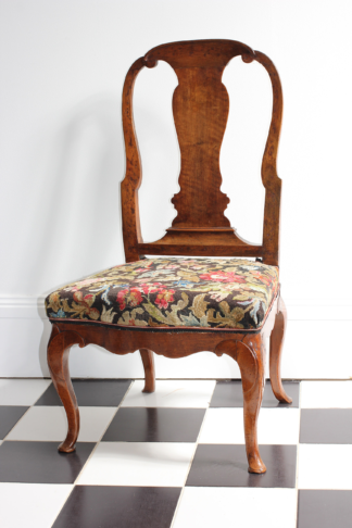 Walnut chair with spoon shaped back and woolwork seat, C. 1740 -0