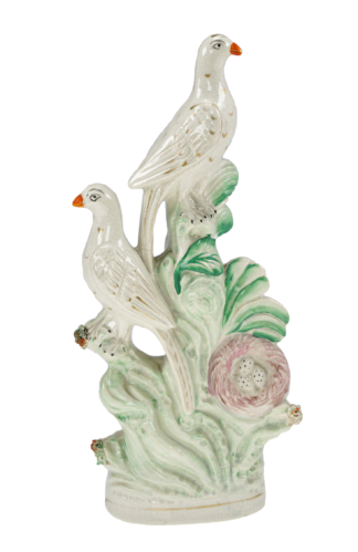 Staffordshire group - two birds & nest, C. 1860 -0