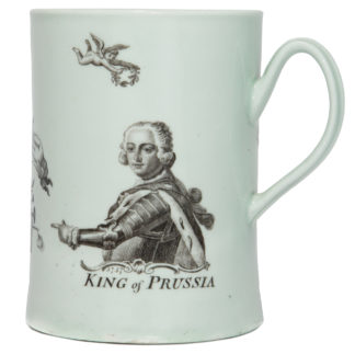 Worcester King of Prussia mug, dated 1757 -0