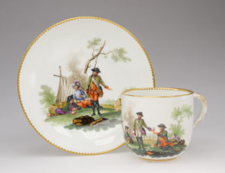 Meissen military theme cup & saucer, Soldiers Camp, c. 1765 -0