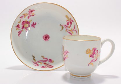 Worcester coffee cup & saucer, unusual pink & gilt flower specimens, c.1780 -0