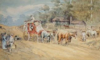 Esam, Arthur (1850-1938) original watercolour 'The Mail' 1901 -0