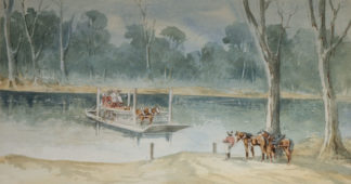 "Esam, Arthur (1850-1938) original watercolour 'The Old Punt, Gol Gol"" 1907 -0"