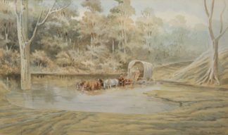 Esam, Arthur; Esam, Arthur (1850-1938) original watercolour 'Upper Juno River, NSW 1904' -0