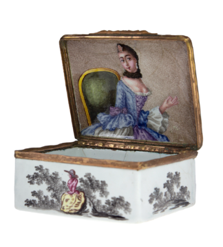 German enamel box with portrait of a lady, c.1770 -0