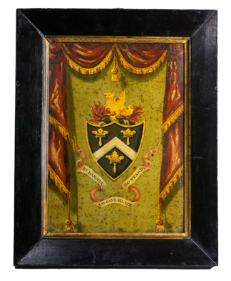 Painted tin panel - Company of Blacksmiths guild arms, 18th/19th century -0