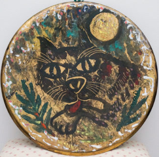 Hesling, Bernard; Black Cat & Full Moon, enamel plaque, circa 1965 -0