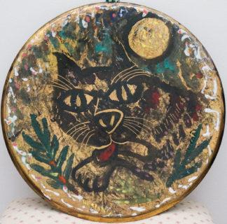 Hesling, Bernard; Black Cat & Full Moon, enamel plaque, circa 1965 -0