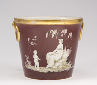 Coalport planter pot, London decorated circa 1810 -0