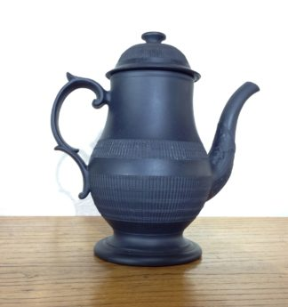 Black Basalt coffee pot, engine turned, c.1800 -0