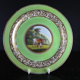 Derby English Animals service plate, cows by John Brewer, c.1795 -0