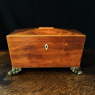 William IV mahogany tea caddy, c.1825 -0