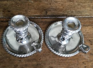 Pair of Old Sheffield Plate chambersticks, C. 1820 -0