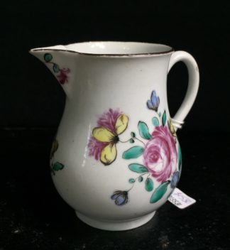 Bow sparrow beak jug with flower painting, C. 1760 -0
