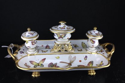 Bloor Derby Inkstand painted with butterflies, c.1815-1820 -0
