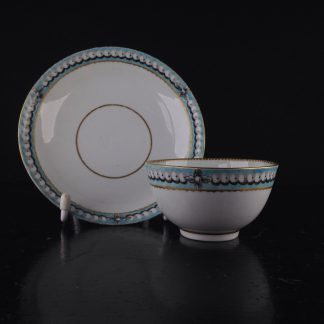 Worcester teabowl & saucer, Turquoise border with pearls, c.1770 -0
