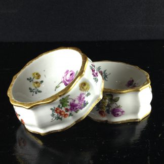 Pair of Meissen open salts, silver shape, c.1760 -0