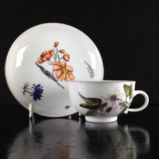 Meissen Holzschnittblumen cup & saucer, flowers, c. 1750 -0
