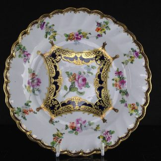 Chelsea-Derby spiral fluted plate, flower swags & rich gilt, c. 1770 -0