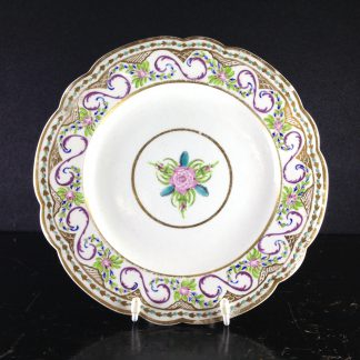 Caughley plate, rare Chamberlains decoration in the Sevres style, c.1792 -0