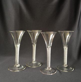 Georgian twisted stem wine glasses (4), c.1750 -0