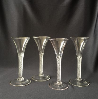 Georgian twisted stem wine glasses (4), c.1750 -0