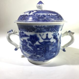 Chinese export sucrier, blue & white pagoda pattern, c.1770 -0