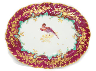 Chelsea Gold Anchor dish, claret ground with exotic bird, c.1765 -0