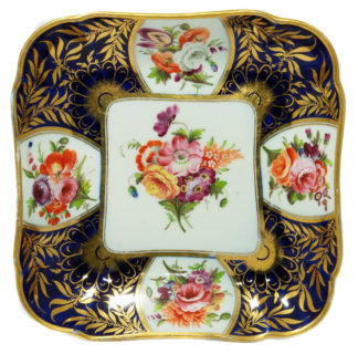 Coalport blue ground square dish with superb flowers, London decorated, C. 1805 -0