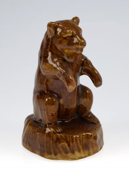 Bear shaped brown glazed pottery money box, 19th C. -0