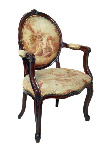 Louis XV walnut salon chair with Aubusson covers, C.1770 -407