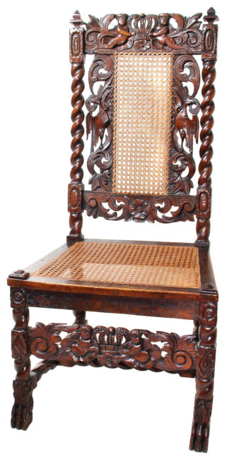 Walnut and beech chair with finely carved back, C. 1695 -0