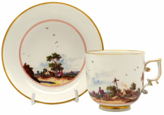 Meissen chocolate cup & saucer with country scenes, C. 1735 -0
