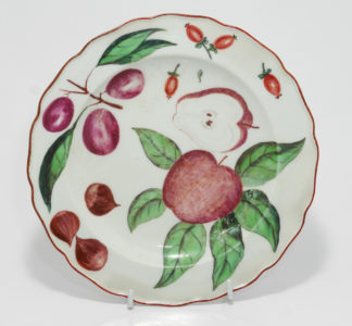 Chelsea plate with cut apple, C. 1755 -0