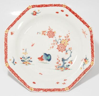 Bow octagonal plate, Kakiemon Quail pattern,C. 1765 -595