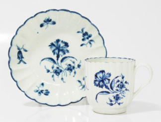 Caughley lobed coffee cup & saucer, C. 1785 -0