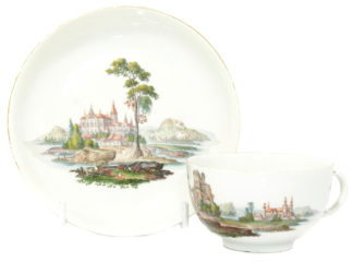Meissen topographical cup & saucer, C. 1765 -0