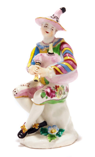 Bow figure of Harlequin playing bagpipes, C. 1765 -0