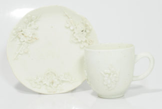 Bow prunus sprigged cup & saucer, C. 1755 -0