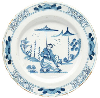 Delft plate with Chinoiserie, C. 1765 -0