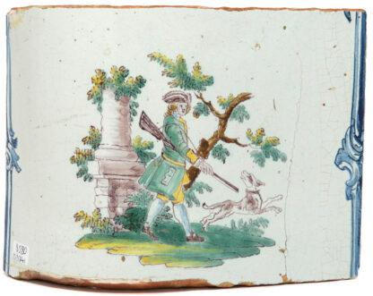 German Faience stove tile, hunter & dog, c. 1760 -0