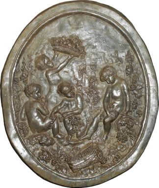 Lead plaque of cherubs, 18th century -0