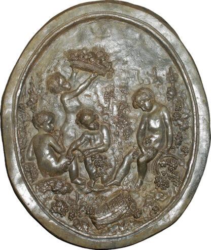 Lead plaque of cherubs, 18th century -0