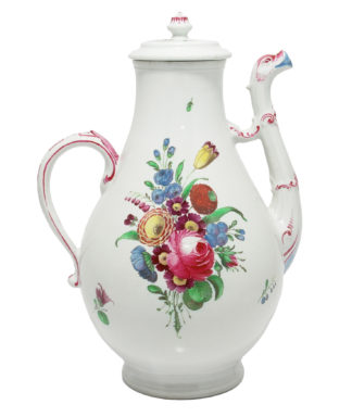 Doccia coffee pot with birds head spout, flower painted, c. 1765 -0