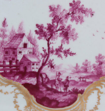 Frankenthal tea canister & cover, scenes in purple, c. 1765 -357