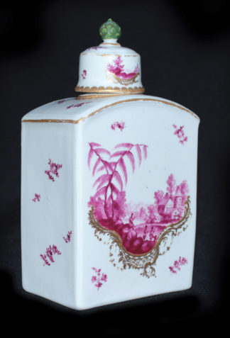 Frankenthal tea canister & cover, scenes in purple, c. 1765 -0