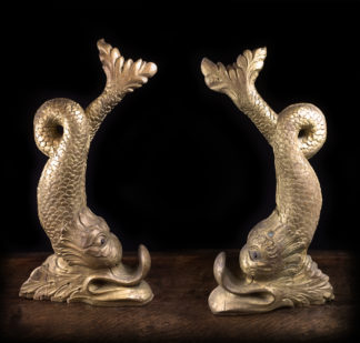 Pair of large gilt wood dolphins, 17th/18th century -0