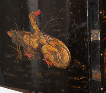 European Chinoiserie black lacquer chest, on later stand, c. 1700 -9341