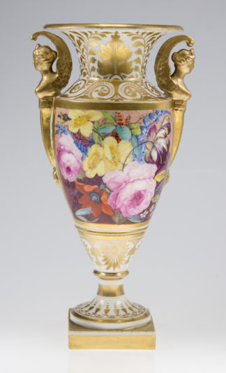 Davenport vase, winged handles & flower painting, c. 1825 -0