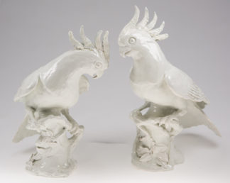 Italian cockatoos, on twig bases, early 20th century -0